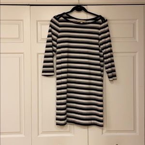 LOFT Striped 3/4 Sleeve Dress
